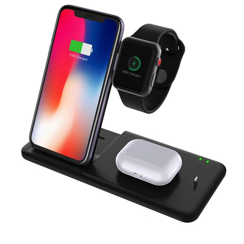 15W QI Wireless Charger Stand Holder 4 In 1 Fast Charging Dock Station Foldable For iPhone 11 XR X 8