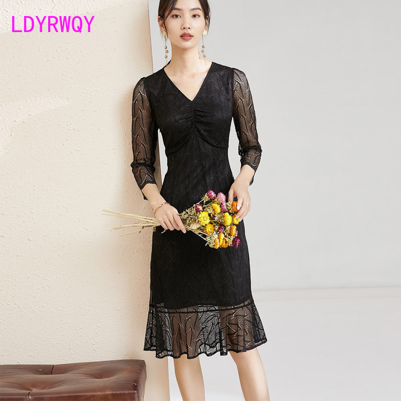 office pencil skirt with decorative v neck Autumn 2021 fashion V-neck pleated lace temperament mermaid skirt female dress with hip  Office Lady  Knee-Length