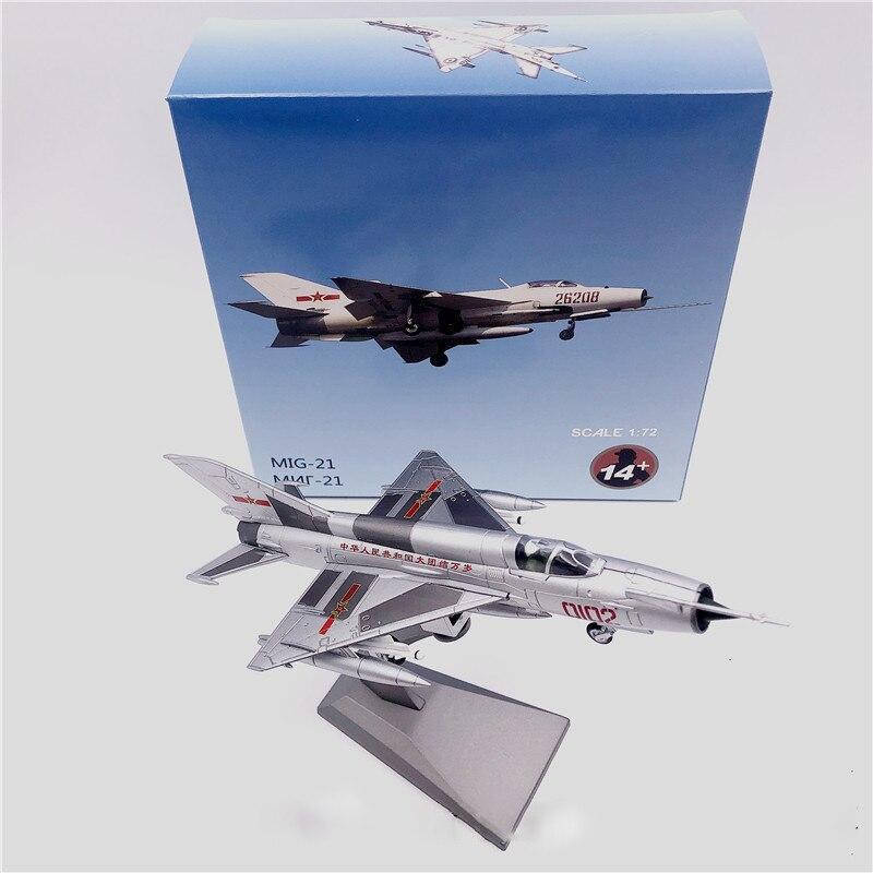caixa de brinquedo fundido 1 72 j 7 mig 21 modelo de fighter ornamento com base de