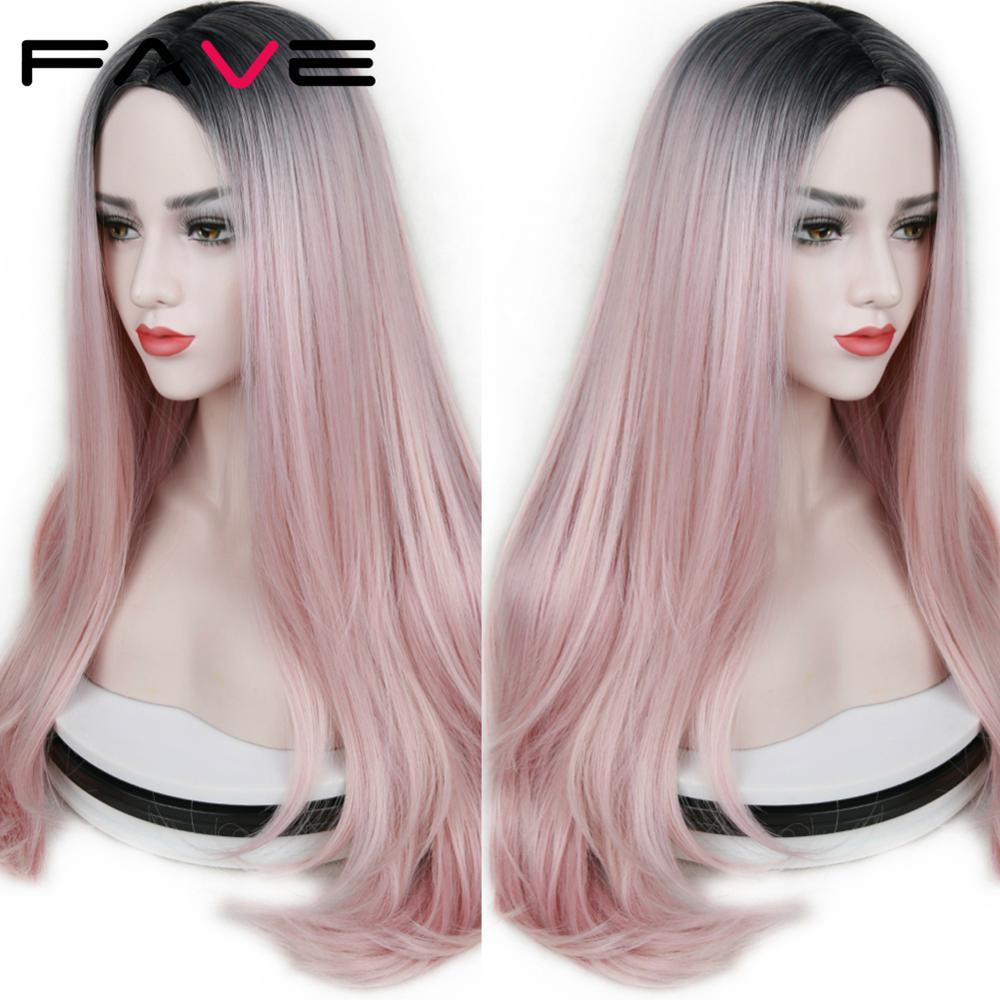 FAVE pelucas rectas de fibra resistente al calor para mujeres de oro rosa negro rosa/99j/Verde/azul/púrpura pelucas sintéticas de pelo de Cosplay