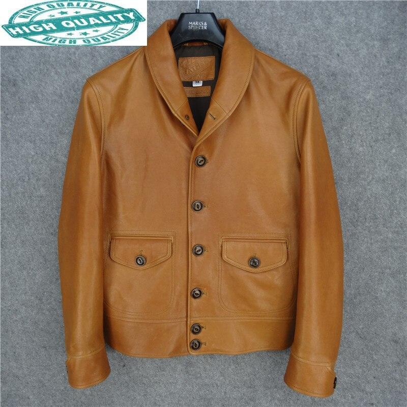 جاكيت رجالي من الجلد الأصلي معطف رجالي أصفر من جلد الغنم ملابس سوداء من الفارس للرجال Chaqueta Hombre LXR505