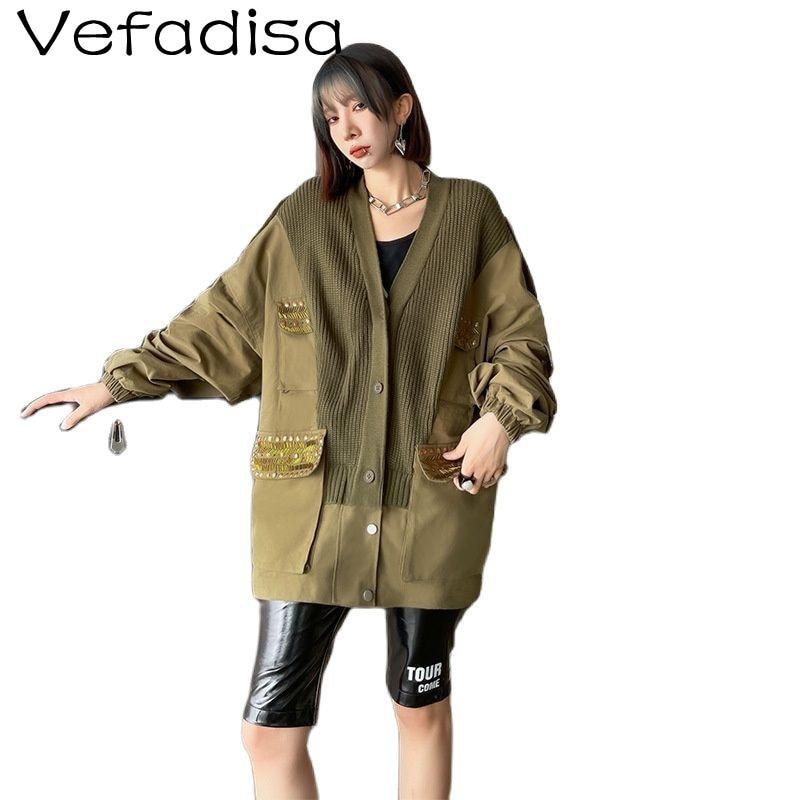 Vefadisa الموضة المطبوعة خياطة واحدة الصدر سترة كل مباراة منتصف طول خياطة محبوك الخامس الرقبة سترة خندق معطف TT494