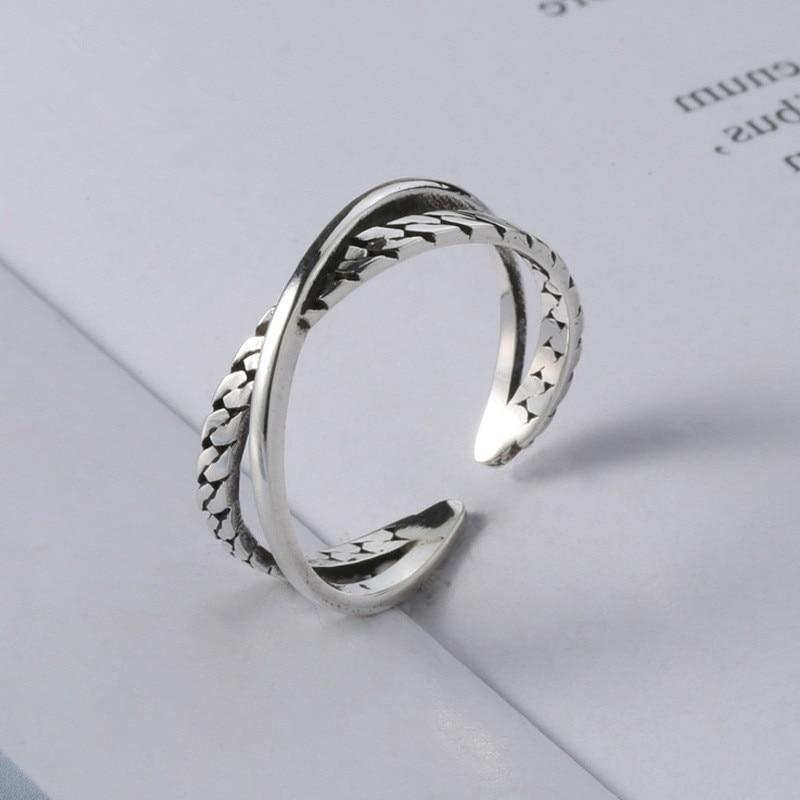 Женские винтажные серебряные кольца ручной работы с 925 пробы, регулируемые кольца из тайского серебра JZ499