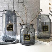 Vase en verre Design nordique décoration européenne maison Vase à fleurs Arrangement de fleurs Vase de table hydroponique pour la décoration de fleurs