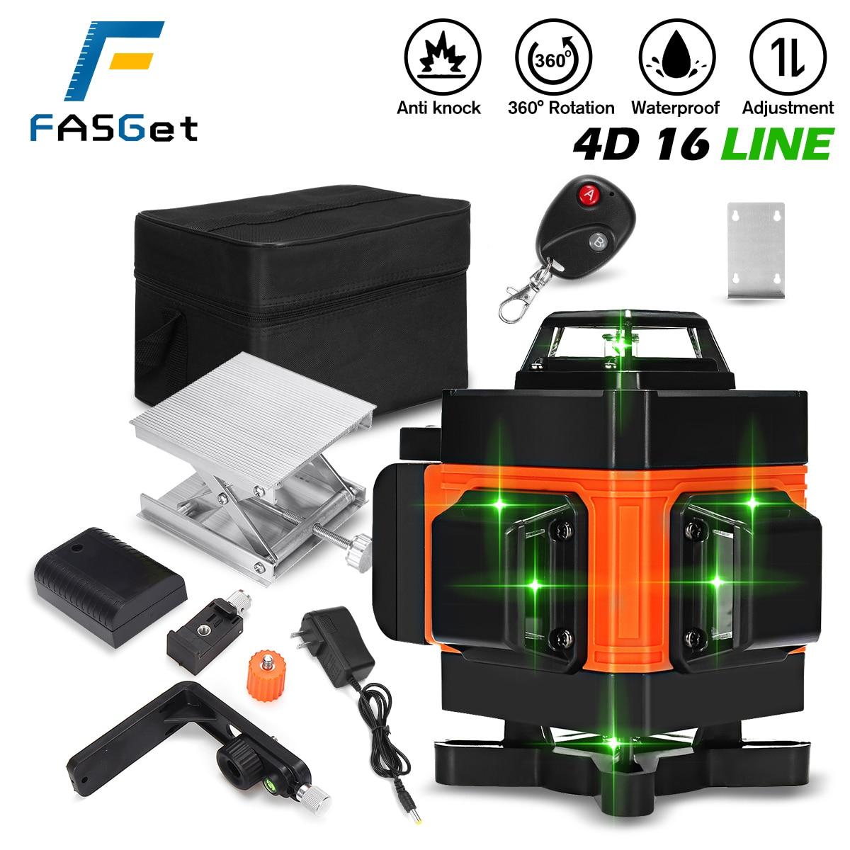 FASGet 16 lines 4D laser level selfleveling 360 horizontal and vertical line...