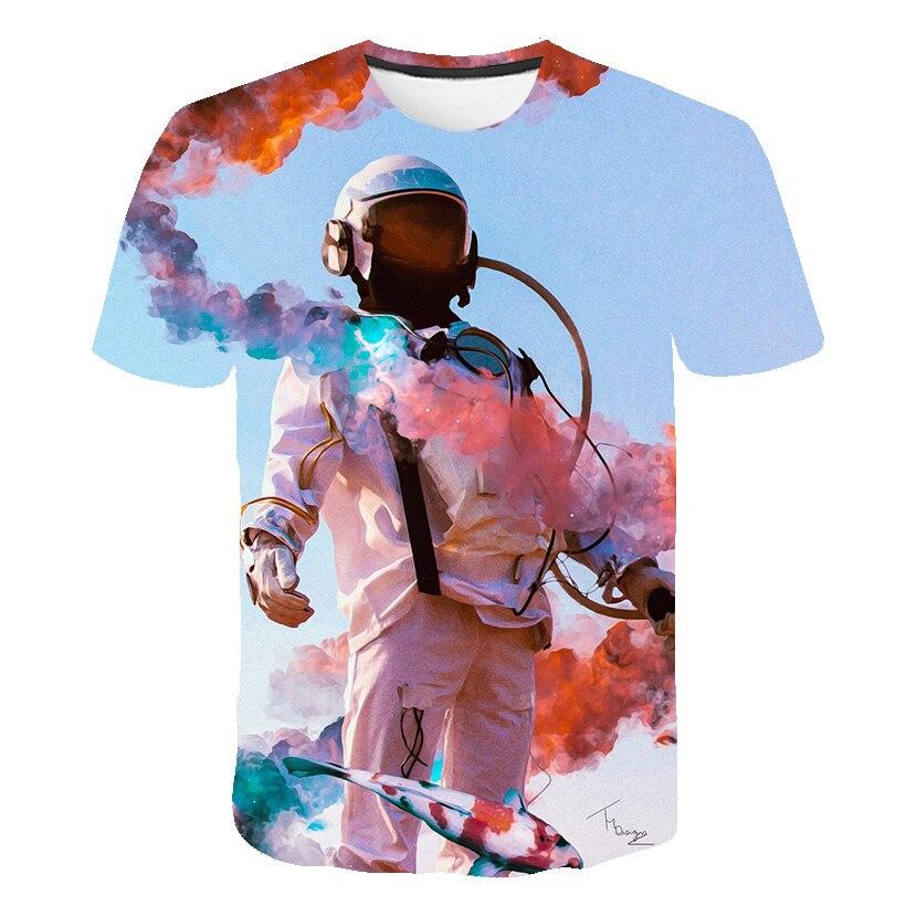 Летняя 3d печать креативная граффити Мужская футболка цветная дымовая защитная одежда робот футболка мужская с О-образным вырезом уличный П...