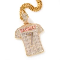 european american heavy industry full inlaid zircon no 7jersey pendant necklace new personality creative mens hip hop jewelry