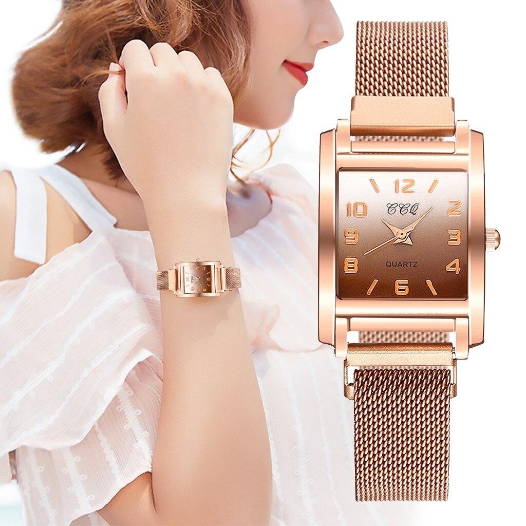 Famoso relógio de luxo malha cinto banda digital analógico liga quartzo relógio de pulso quadrado minimalista elegante senhoras relógio zegarek damski