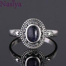 Nouveau Design 5X7mm anneau de grès bleu 925 bague en argent Sterling Punk bijoux pour les femmes Cocktail fête cadeau danniversaire