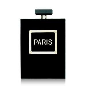 Acrylic Perfume Women Casual Black Bottle Handbags Wallet Paris Party Toiletry Wedding Clutch Evening Bags Purses Handbags