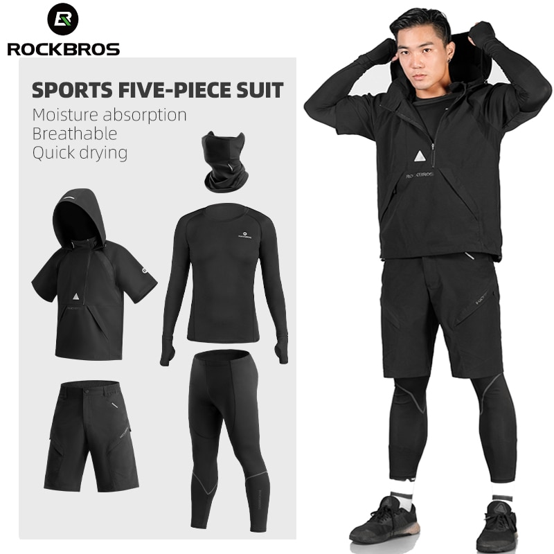 ROCKBROS Men's Tracksuit Gym Fitness Compression Sports Suit Clothes Running Jogging Sportwear Exercise Workout Tights 5 Pcs/Set