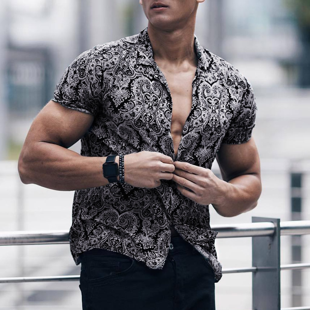 Men Shirt Stylish Multicolor Lump Chest Pocket Short Sleeve Round Hem Loose Shirts Sexy Male Blouse Camisas Masculina Camisa
