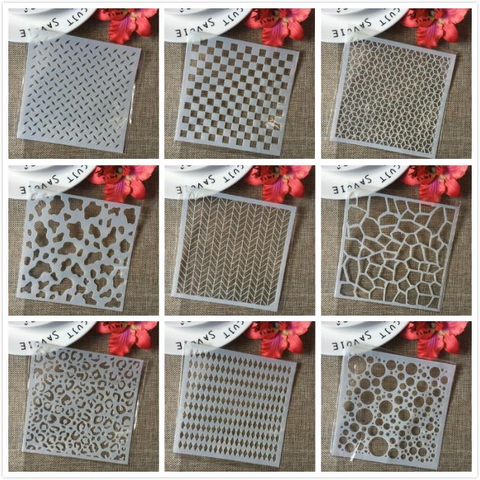 9Pcs/Set 5'' Block Board Grid Texture DIY Layering Stencils Painting Scrapbook Coloring Embossing Album Decorative Card Template