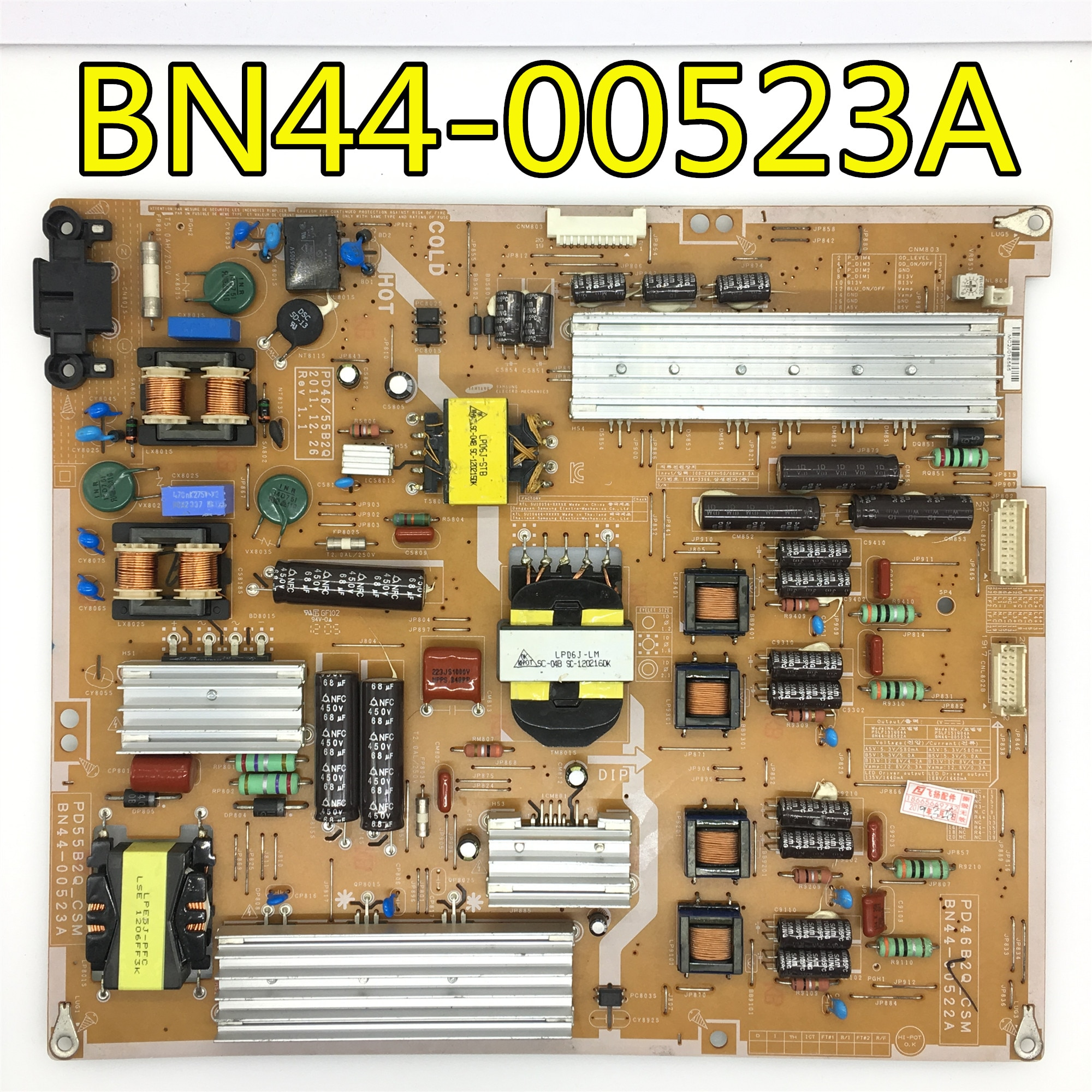 Placa de Energia 100% para Samgsung Teste Original Bn44-00523a Pd46b2q-csm Bn44-00522a Pd55b2q-csm