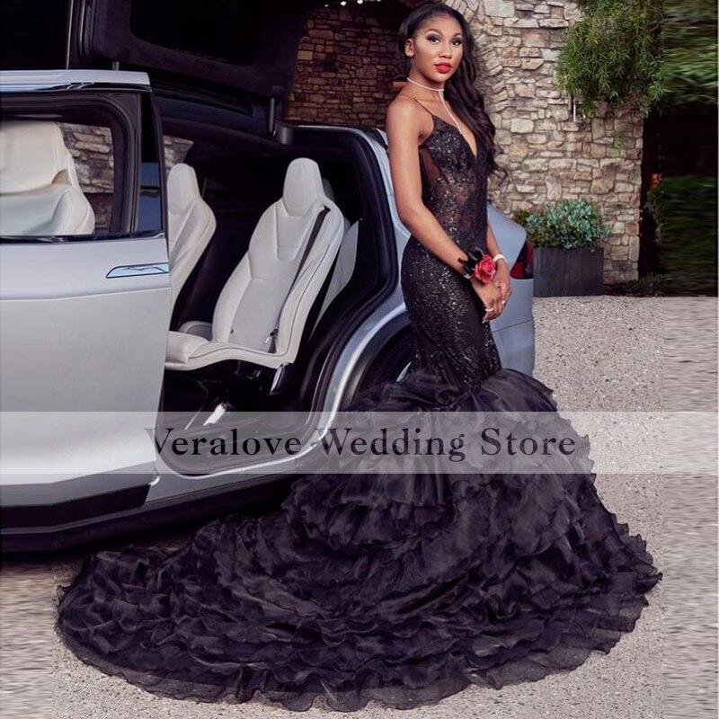 Long Mermaid Black Sequins Lace Evening Dress Mermaid 2K21 Spaghetti Straps Prom Dress Princesse Coc