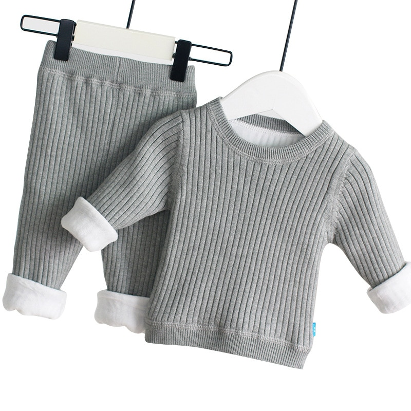 Winter Infant Toddler Warm Clothing Sets Baby Boys Girls Knit Sweater Pants Plus Velvet Thickening Pullovers + Trousers Outfits