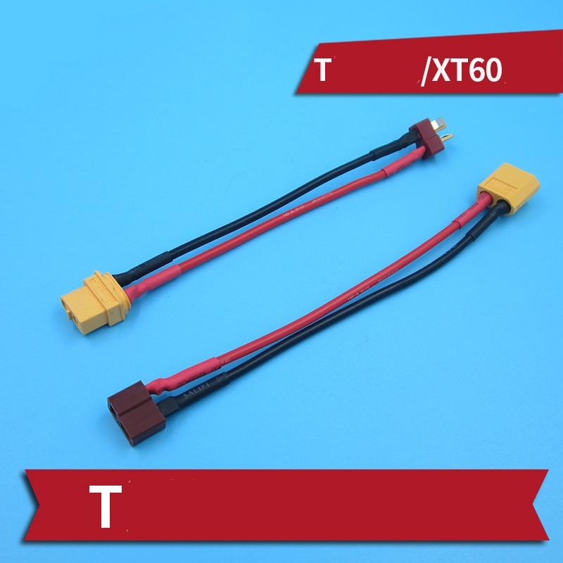 Cable de carga de batería XT60 a T, Cable conector 16AWG de batería, convertidor de cables adaptadores para coches/barcos de control remoto 2 uds.