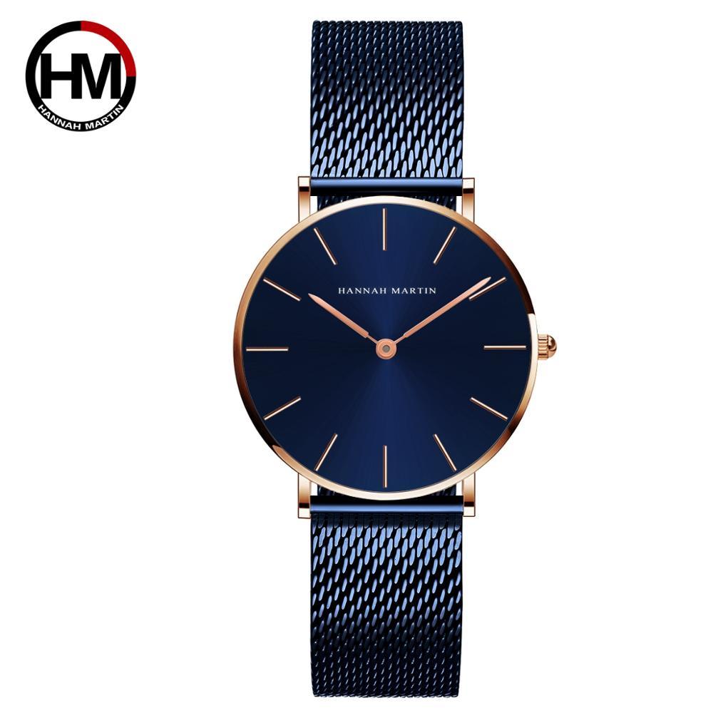 2021 جديد أزرق تصميم بسيط اليابان كوارتز حركة مقاوم للماء السيدات ساعة اليد الفولاذ المقاوم للصدأ سوار فولاذي الساعات الكلاسيكية للنساء