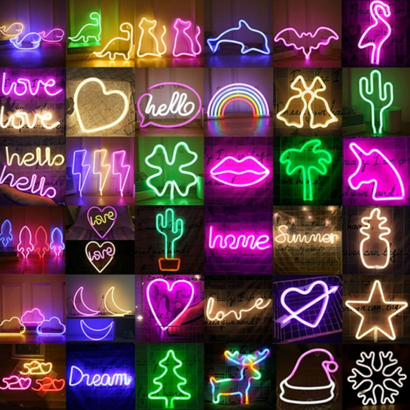 90# LED Neon Night Light Sign Wall Hanging Neon Light Room Home Bedroom Party Bar Wedding Decoration Christmas Gift
