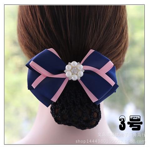 Women Boutique Hair Net Hair Clip Flower Korean Bow White Collar Nurse Professional Lace Ribbon Fabric Handmade Gift FS016
