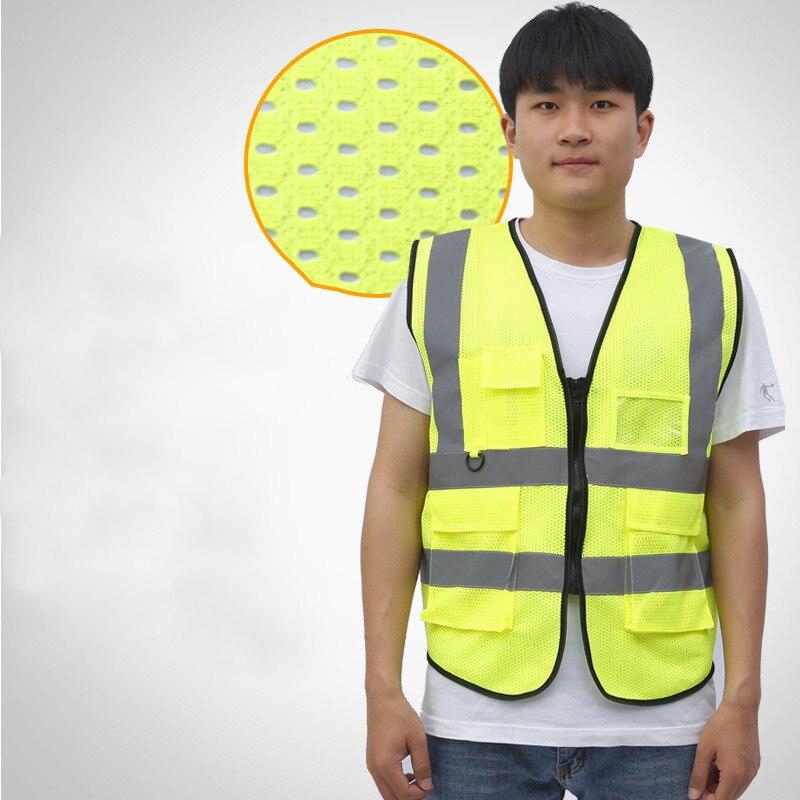 Chaleco reflectante de seguridad para el tráfico para hombre, protección nocturna para adultos, chaleco reflectante de un tamaño con múltiples bolsillos, Material transpirable