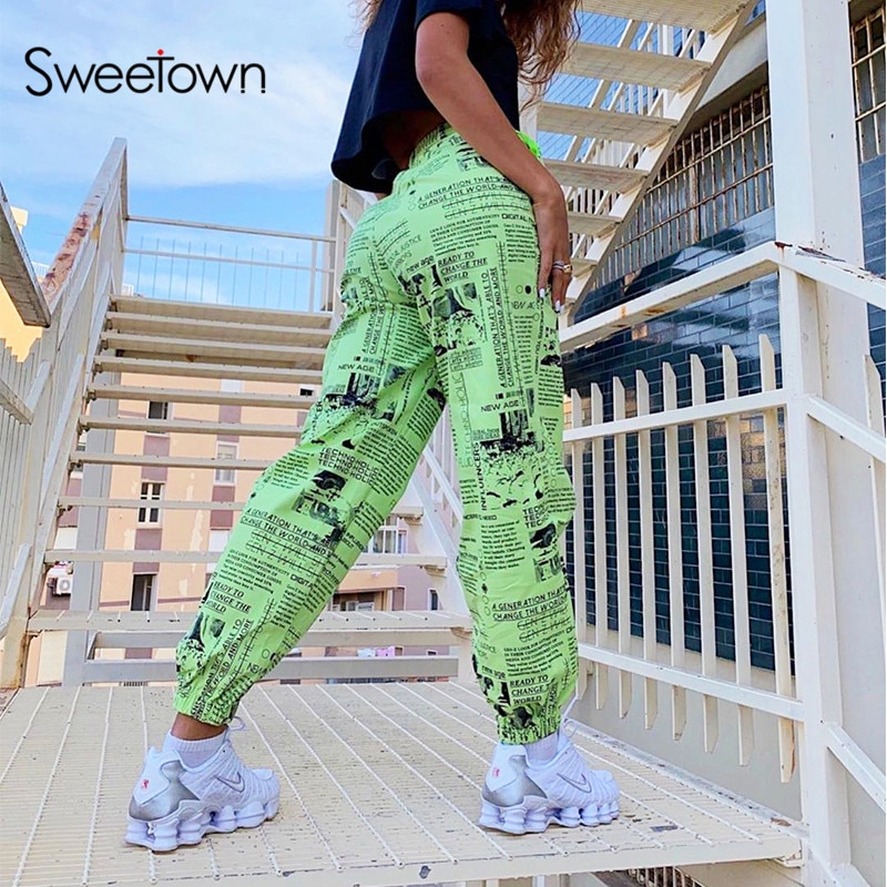Sweetown Casual Print Ladies Streetwear Cargo Pants mujeres Hip Hop pantalones holgados moda alta cintura pantalones holgados trajes de otoño
