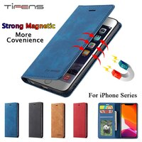 Роскошный кожаный чехол для iPhone 12 Mini 11 Pro XS Max XR X 5 5s SE 2020, Магнитный чехол для iPhone 7 8 6 6s Plus, флип-чехол для карт
