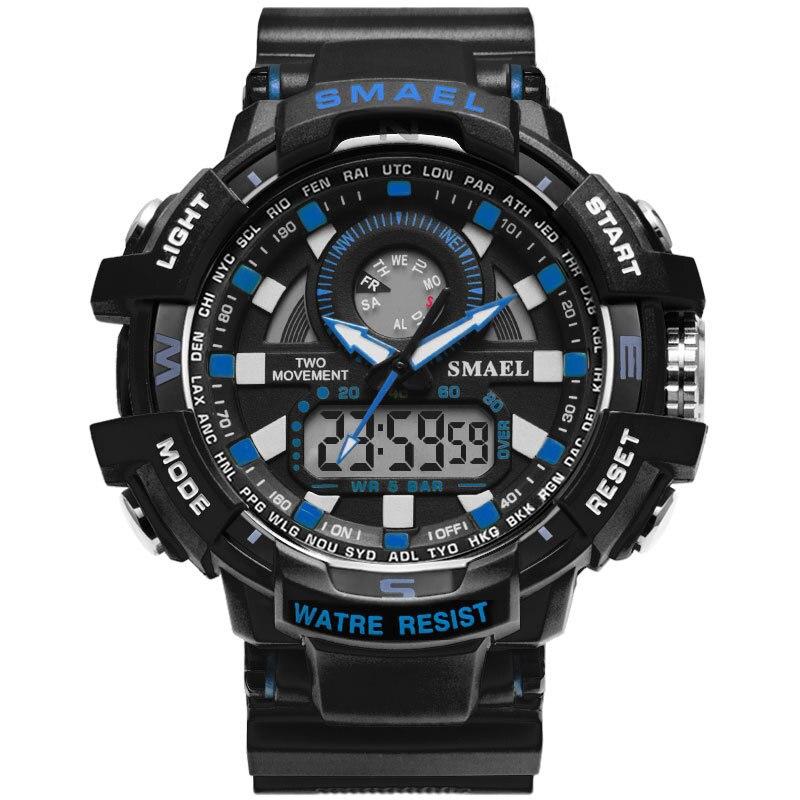 Часы SMAEL мужские наручные кварцевые с двойным дисплеем, брендовые аналоговые цифровые светодиодные электронные, в стиле милитари