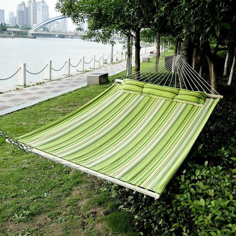 Портативный с подушкой, Широкий гамак, хлопковая подвесная кровать, уличная садовая мебель 3 размера, уличная мебель
