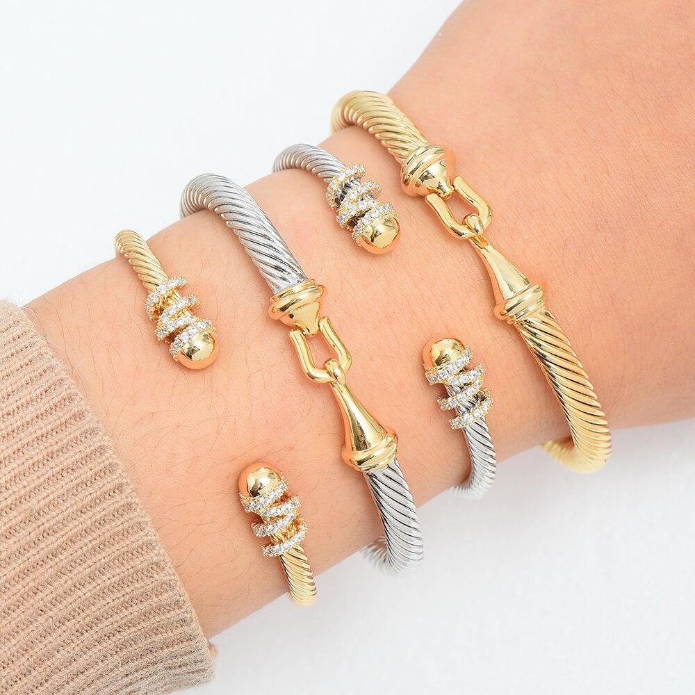 Missvikki, pulseras apilables de diseño Original para mujer, circón cúbico de Boda nupcial, brazalete abierto, pulsera de Dubái, joyería para fiesta