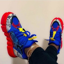 Frauen Vulkanisieren Sneakers Mix Farbe Plattform Mid Ferse Schlange Patchwork Lace Up Casual Mode 2020 Damen Schuhe Zapatos De Mujer