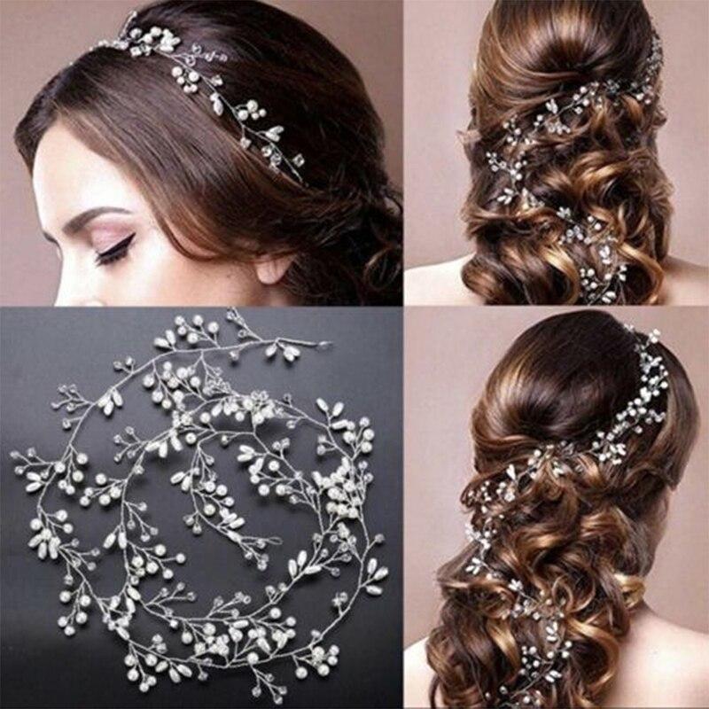 50cm Novia boda flor Tiara De enredadera cabeza cadena nupcial adornos para...
