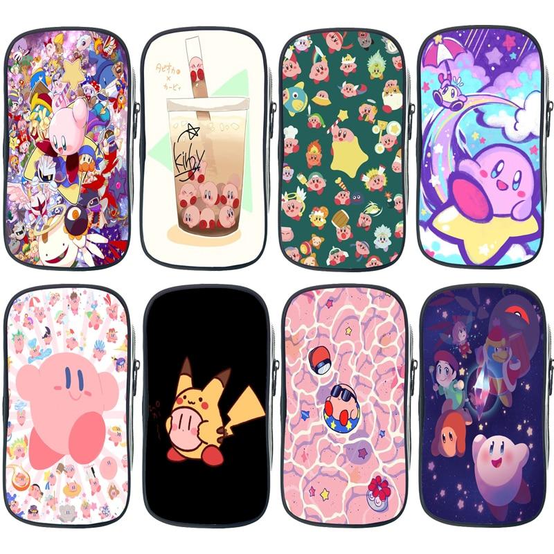 Pikachu Kirby divertido de alta calidad para niños, estuches de lápices, bolso pluma dibujos estudiante Escuela, papelería, bolsa de almacenamiento para chica, bolsa de cosméticos