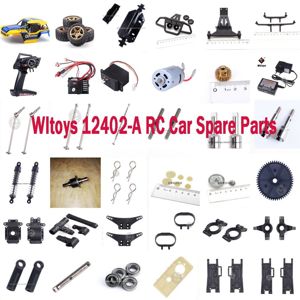 WLtoys 12402-A RC car spare parts shell tires servo motor gear remote controller receiver differenti