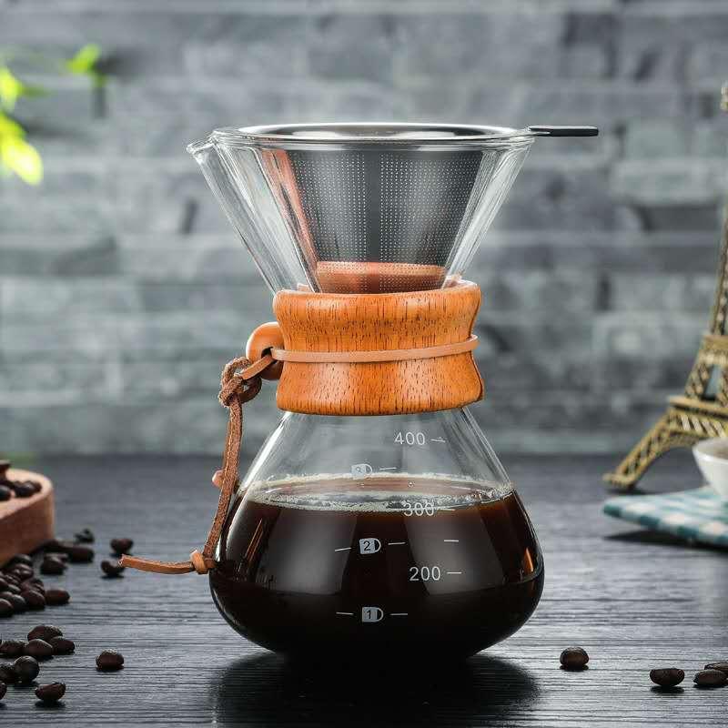 مرشحات القهوة الزجاج المنقط وعاء مجموعة النمط الياباني زجاج القهوة تصفية قابلة لإعادة الاستخدام عالية الجودة Macchina Caffe القهوة AB50CF