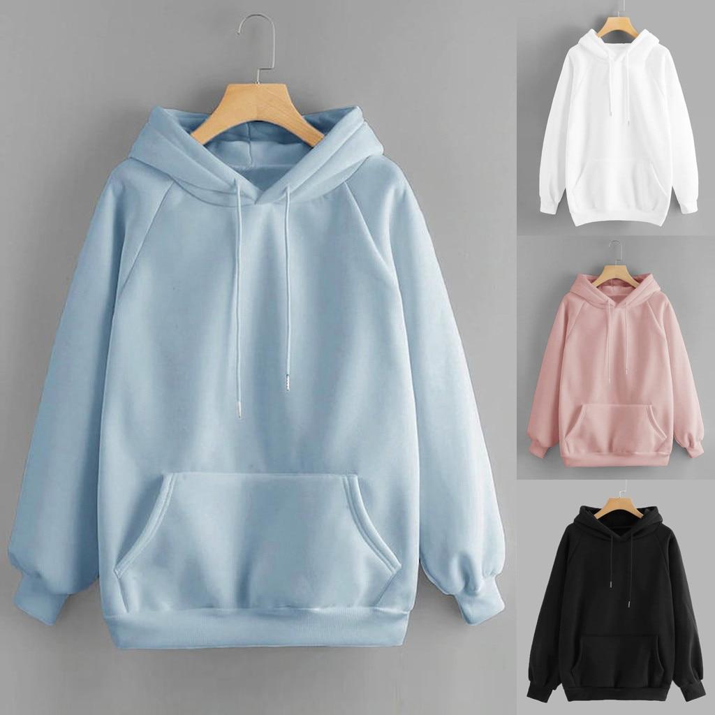 Женский Однотонный пуловер с капюшоном и карманами, свитшот с длинным рукавом, Спортивная одежда на осень и зиму, moletom feminino inverno