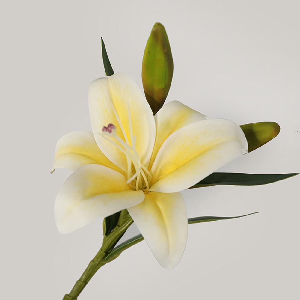 Lirio Artificial látex falso flores ramo de novia hogar Decoración del banquete de boda regalo simulación de planta falsa decoración estantes de vino
