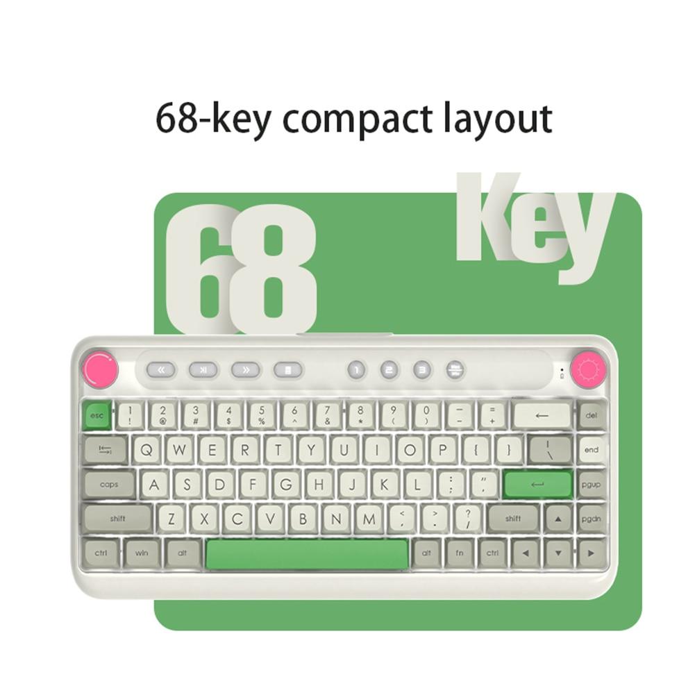 Ajazz B21 ماوس ميكانيكي 68 مفتاح بلوتوث متوافق مع لوحة مفاتيح مزدوجة الوضع الكرز لألعاب الكمبيوتر والكمبيوتر المحمول مكتب الألعاب