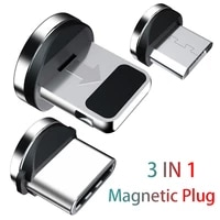 hezugoyi 3 pcs magnetic tips for iphone samsung mobile phone replacement parts 3 in 1 plug micro converter cable adapter type c