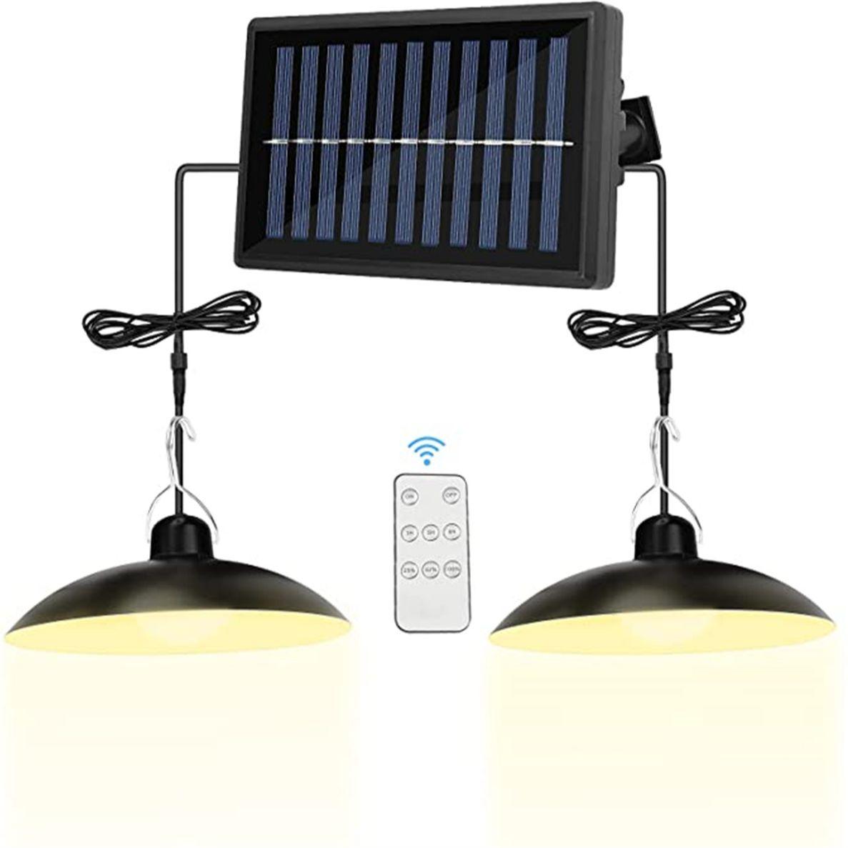 Подвесные светильники на солнечной батарее, уличная водонепроницаемая лампа с двойной головкой для кемпинга, сада, двора, IP65