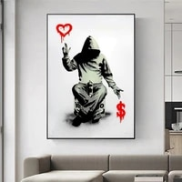 banksy abstract graffiti art canvas painting street art wall posters and prints men graffiti picture for living room home decor