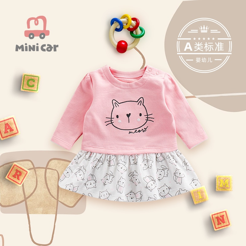Baby Skirt Pink cartoon spring and autumn long sleeve childrens skirt girl one piece