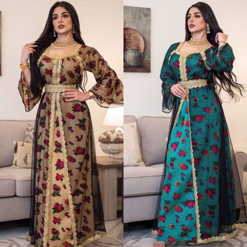 Ramadan Eid Arab Dubai Islamic Clothing Muslim Wedding Dress Fashion Women Patchwork Embroidery Indian Turkey Kaftan Maxi Dress