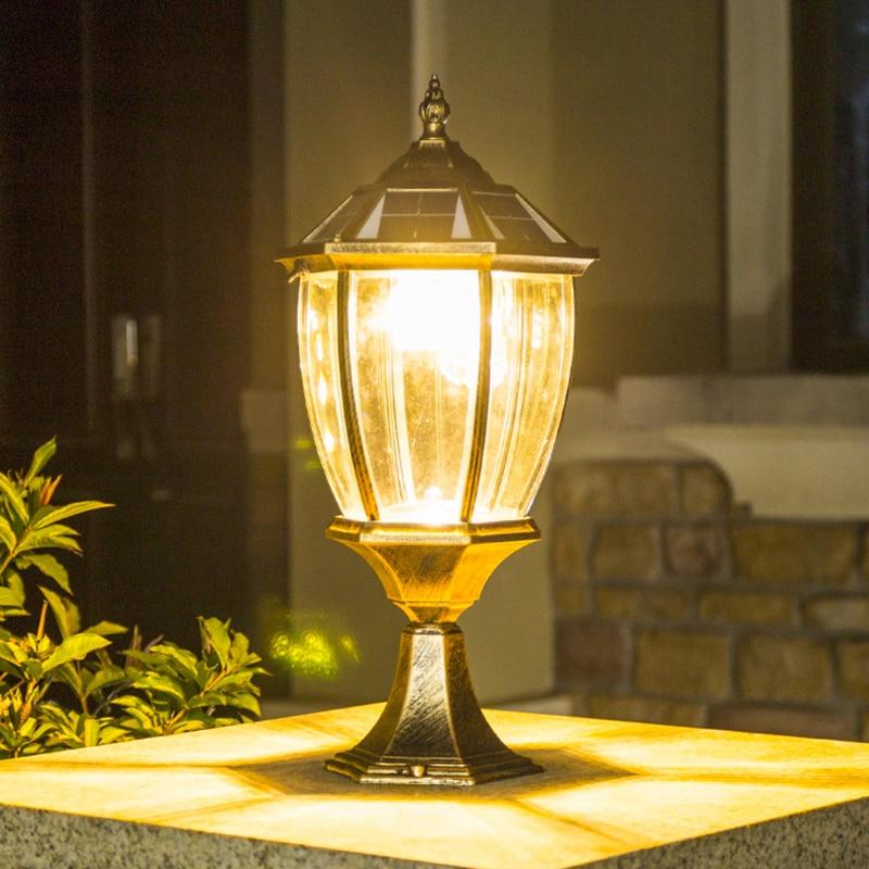 Solar Column Headlight LED Outdoor Lighting Fence Gate Pillar Garden Chinese Style Decor Wall Lamp Waterproof Courtyard Light
