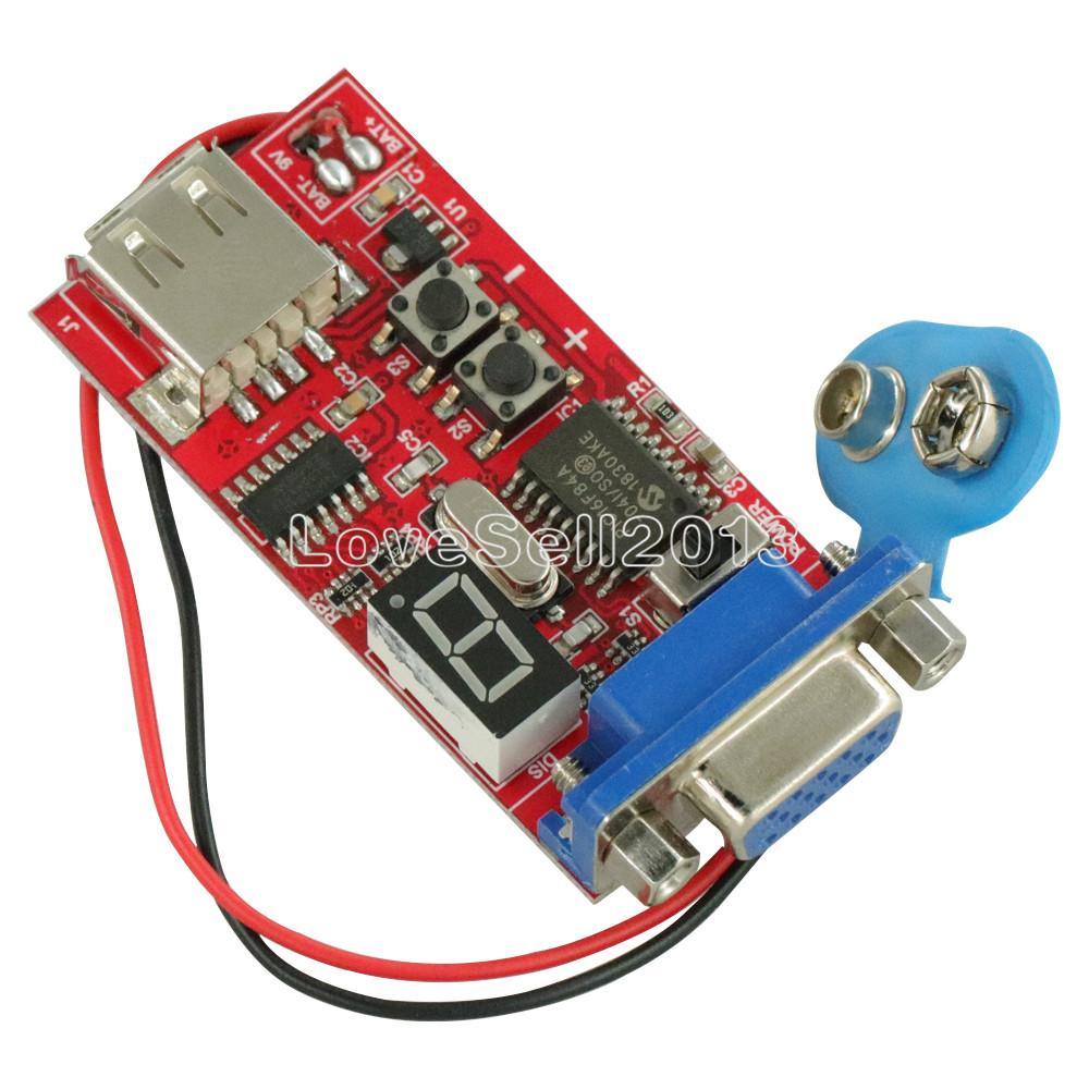 DC 9V VGA Signal Generator LCD Tester 15 Signal Output USB Battery Power Supply For Test Adjustment VGA/SVGA/XGA Display Devices