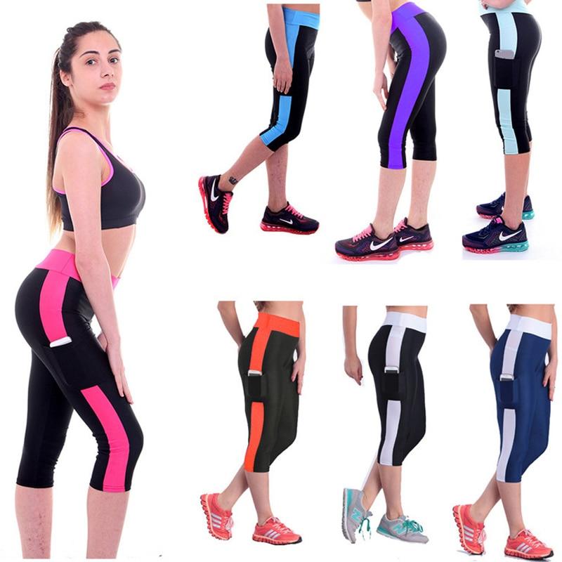 Pantalones Capri sexis a rayas para correr de noche, ajustados para mujer, deportivos de 3/4 de longitud, pantalones de compresión con bolsillo, ropa de Fitness de cintura alta