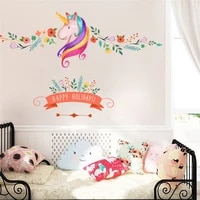 cute unicorn with flowers vine wall stickers for kids room girls bedroom home decoration animal mural ar diy wall decals