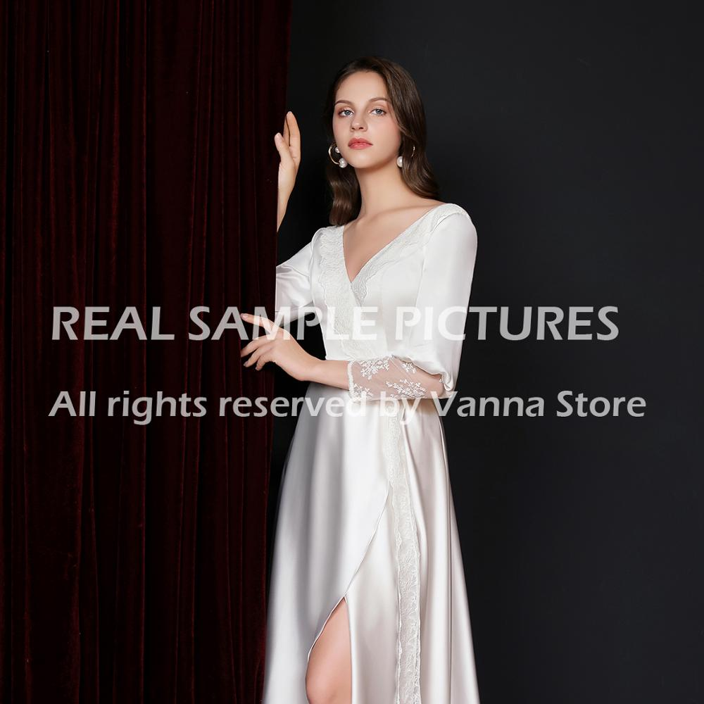 Silk Satin Wedding Bridesmaid Bridal Robe With Lace Nightgown Sexy V Neck Long Sleeve Sleepwear Loose Maternity Gowns Belt 3091#