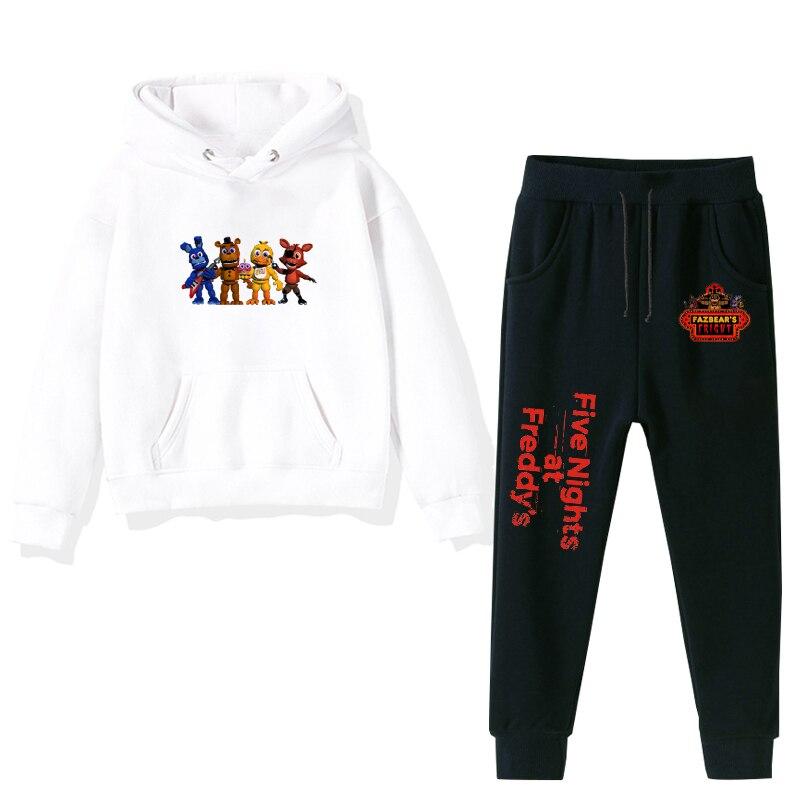 Five Nights At Freddy Print Boys Girls sudaderas Otoño Invierno ropa niños bebé negro Rosa Blanco Hoodies + Pants 2 unids/set