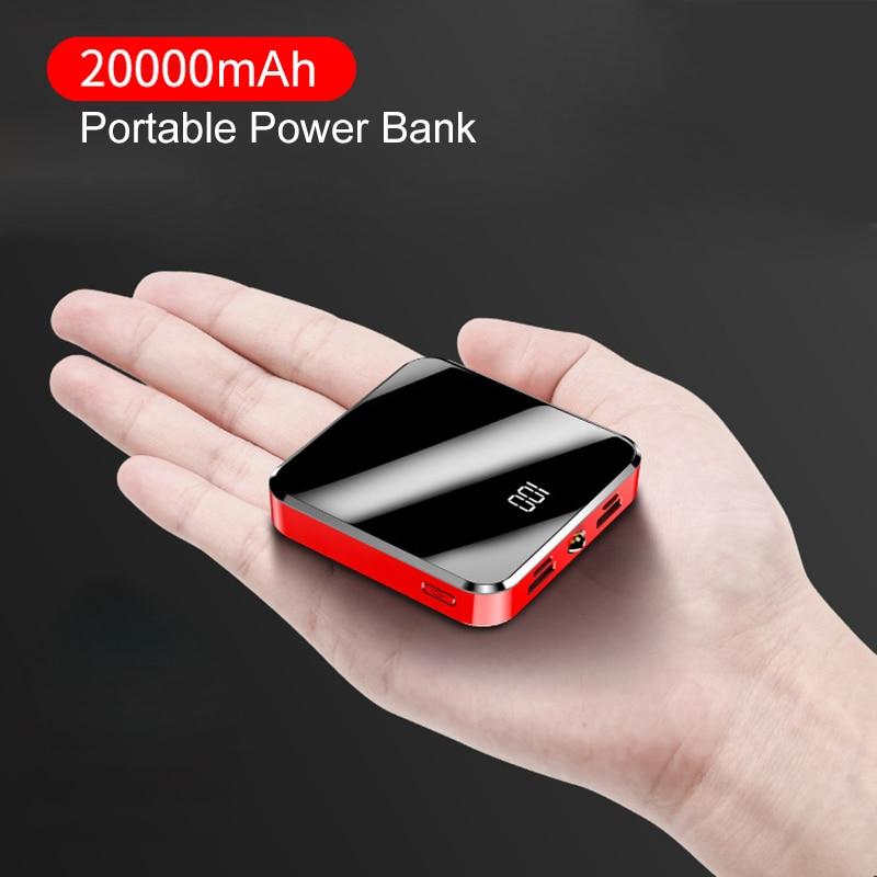 20000mAh Portable Power Bank Mirror Screen LED Display Powerbank For iPhone Xiaomi Samsung Phone Ext